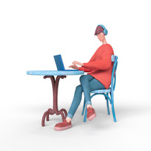 Young Guy In Red Sweater Sits At An Outdoor Cafe Table Chatting At His Laptop. Cartoon Guy With Headphones Listening To Music Surfs The Internet On The Computer. 3d Illustration On A White Background