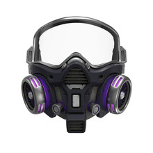 Futuristic Chemical Gas Mask With Protective Glasses And Metal Filters. Modern Military Black Gray Respirator With Neon Light. Concept Art Air Pollution. 3d Illustration Isolated On White Background