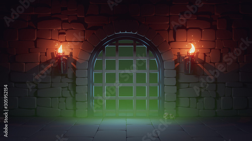 Concept art prison in dark medieval dungeon with stone walls, large metal jail door and burning torches Tablou Canvas