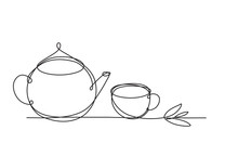 Teapot And Cup. Continuous Lin...