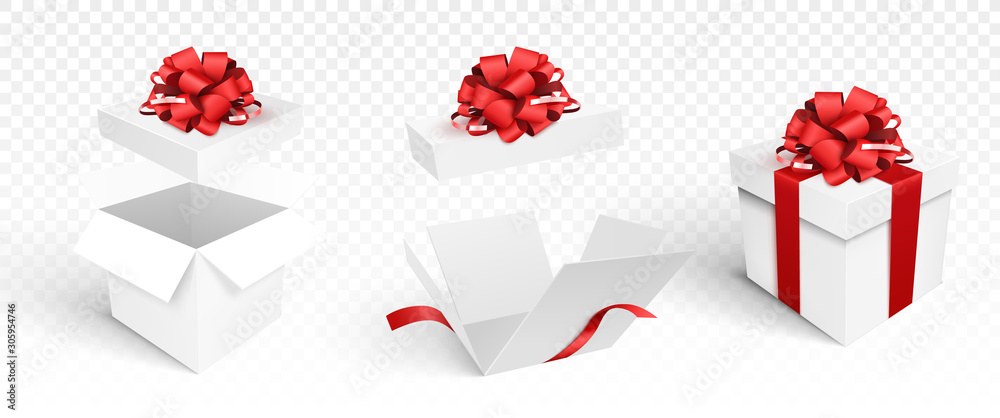 Fototapeta Gift boxes template isolated. Vector illustration. Open and closed boxes with bow.