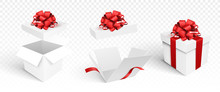 Gift Boxes Template Isolated. Vector Illustration. Open And Closed Boxes With Bow.
