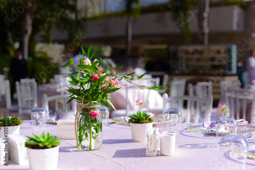 Fototapety, obrazy: table with flowers