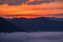 Beautiful Sunrise And Fog At  Phu Thok Chiang Khan In Loei Province Thailand