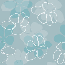 White And Blue Silhouette Flowers Vector Pattern