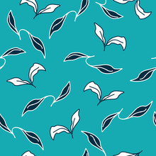 Black And White Leaves On Blue Background Vector
