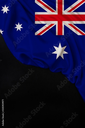 vertical color national flag of modern state of Australia, beautiful silk, black blank, concept of tourism, economy, politics, emigration, independence day, copy space, template