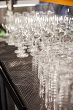 Selective Focus Of Empty And Clean Cocktail Glasses In Bar