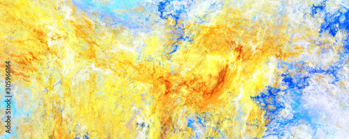 canvas print motiv - Alena : Bright artistic splashes. Abstract painting color texture. Modern pattern. Blue and yellow background. Fractal artwork for creative graphic design