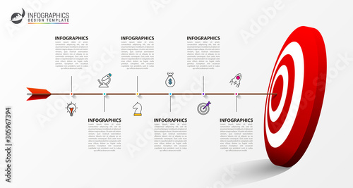 Infographic design template. Creative concept with 6 steps Canvas Print