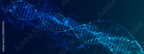 Cuadros en Lienzo Science template, abstract background with a DNA molecules