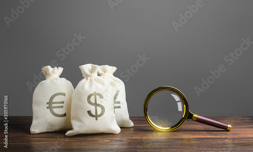 Fototapeta Three bags of money and a magnifying glass. Search for investments and financing for projects. Saving funds in other currencies. Investment and loan portfolios. Bonds and stock exchanges. obraz
