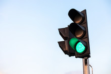 Green Traffic Light With Blue ...