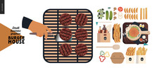 Burger House -small Business Graphics - Process And Food-modern Flat Vector Concept Illustrations -burgers Grill, Cheeseburger, French Fries, Lemonade, Condiments, Eggs, Bacon, Cutlery, Cutting Board