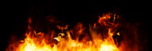 Panorama Fire Flames On Black Background.