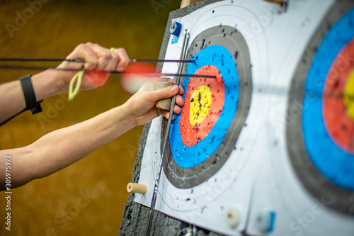 Photo sports archery at the shooting range, competition for the most points to win the