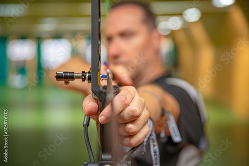 Leinwand Poster sports archery at the shooting range, competition for the most points to win the