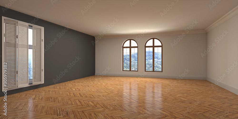 Obraz Empty interior with window. 3d illustration fototapeta, plakat