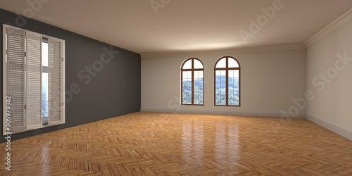 Fototapeta Empty interior with window. 3d illustration obraz
