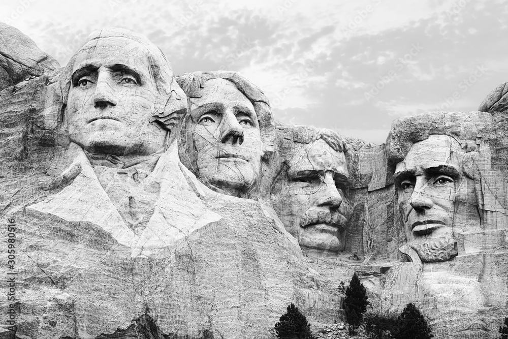 Fototapeta A closeup of the four heads of USA presidents at Mount Rushmore South Dakota in black and white