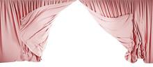 Pink Velvet Curtains Isolated On White Background. 3d Illustration
