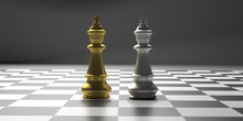 Chess Kings Gold And Silver Color Standing On A Checkerboard. 3d Illustration