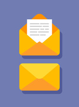 Flat Design Of Closed And Open Envelope With Document In It. Getting Or Send New Letter. E-mail Icon Isolated. Vector Illustration.