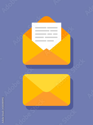 Fotografía Flat design of closed and open envelope with document in it