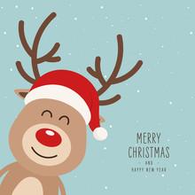 Reindeer Red Nosed Cute Cartoon Santa Had Snowy Background. Christmas Card