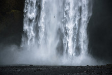 Closeup Of The Famous Skogafoss Waterfall In Iceland