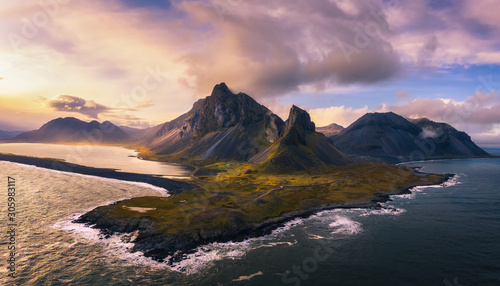 Aerial View of the Eystrahorn with Krossanesfjall Mountain in Iceland at sunset - 305983117