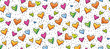 Hand-drawn seamless birthday or valentine pattern with cute little hearts for greeting cards, wrapping paper