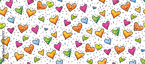 fototapeta na lodówkę Hand-drawn seamless birthday or valentine pattern with cute little hearts for greeting cards, wrapping paper