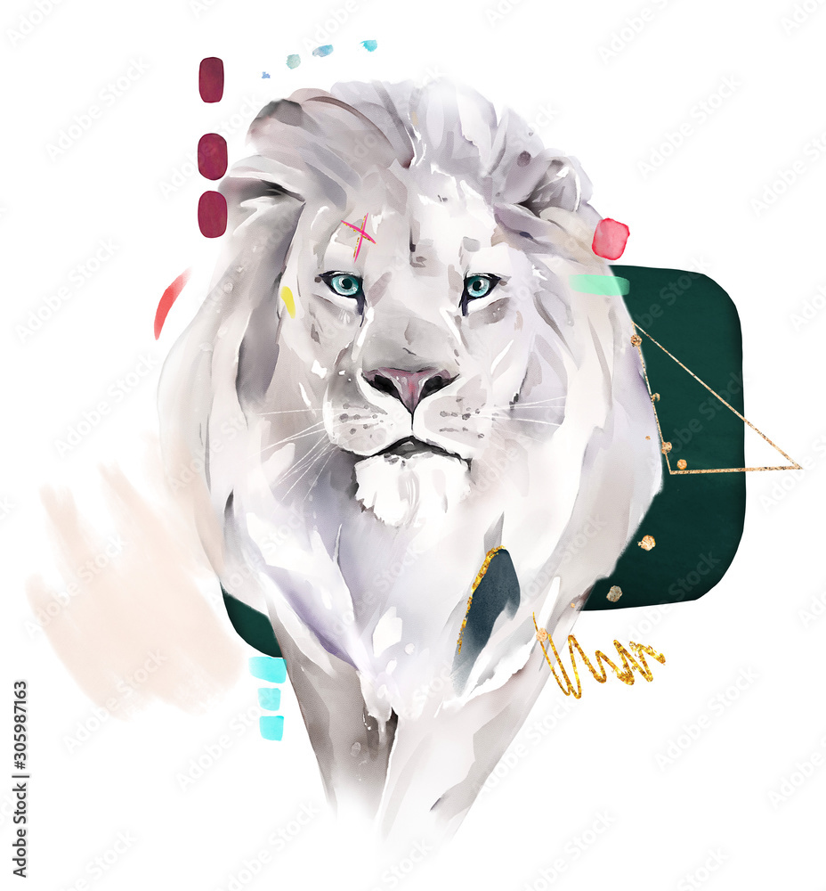 Fototapeta fashion watercolor illustration. Drawing - lion with abstract geometric shapes. Gold and green. isolated on white background