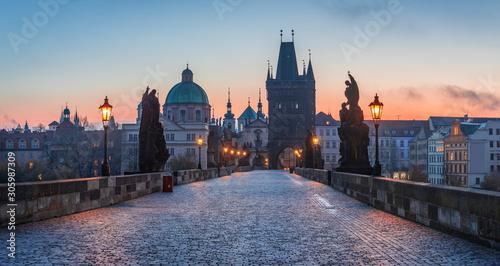 Obraz na plátně Sunrise at the Charles Bridge in Prague