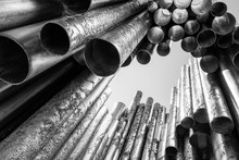Monument To Sibelius In Helsinki Finland With Pipes Or Tubes In Black And White