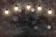 red cute bright glitter lights defocused bokeh abstract background with light bulbs and falling snow flakes fly, festival mockup texture with blank space for your content