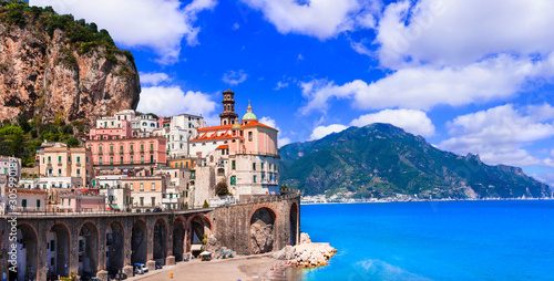 Italian summer holidays - beautiful Amalfi coast, scenic Atrani village, Campania, Italy