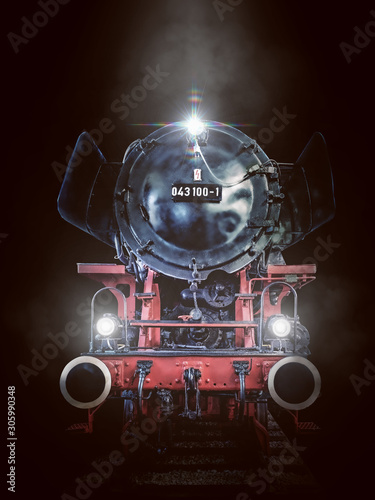 Fotomural black steam locomotive