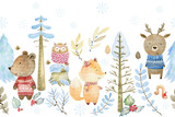 Fototapeta Fototapety na ścianę do pokoju dziecięcego - Watercolor forest border.