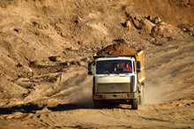 Dump Truck Transports Sand And...