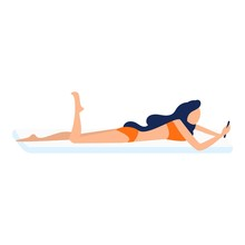 Girl Beach Relax Icon. Flat Il...