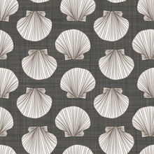 Seashells On Linen Fabric Text...