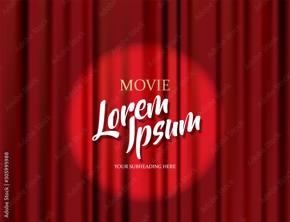 Fototapeta Theater stage vector red heavy curtain template illustration.