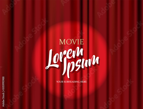 Obraz Theater stage vector red heavy curtain template illustration. - fototapety do salonu