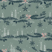 Cute Hand Drawn Seamless Pattern With Candles, Branches And Christmas Decoration - X Mas Background, Great For Textiles, Banners, Wallpapers - Vector Design