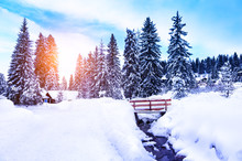 Small Village After Snowfall In Dolomite Alps, Italy. Beautiful Winter Landscape