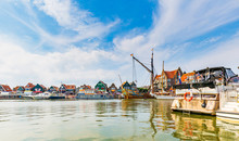 Volendam Traditional Dutch Fishing Village, View At The Harbour,