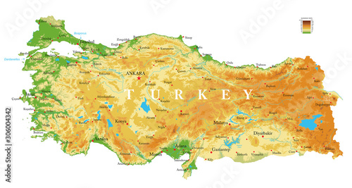 Fotografie, Obraz Turkey physical map