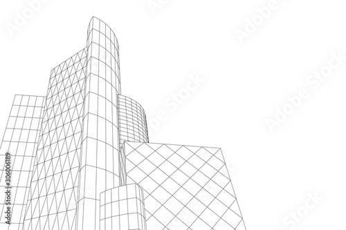 Abstract building from the lines. 3d illustration. Vector